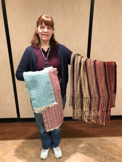 Cheryl H - Cotton dresser scarves in double monk's belt threading and chenille sofa throw