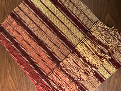 Cheryl H - Chenille sofa throw woven with seven warp colors and one weft color