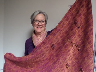Phyllis S - Fabric for jacket workshop; six-harness twill blocks in 8/2 tencel warp and weft