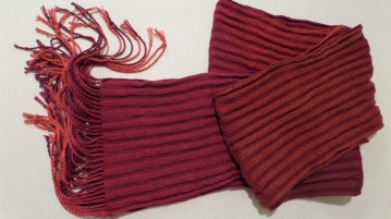 "BarbaraH - ""Unintentional Texture"" scarf in 1/3 & 3/1 twill with handpainted Tencel warp and Tencel weft"