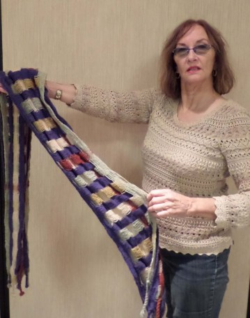DoritaF - Multicolored scarf woven in deflected doubleweave