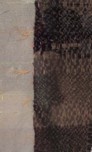 "SheriB - Detail of ""The Blind Stitch,"" mounted scrap lumpy and smooth handwoven exhibited at Friedman Place"