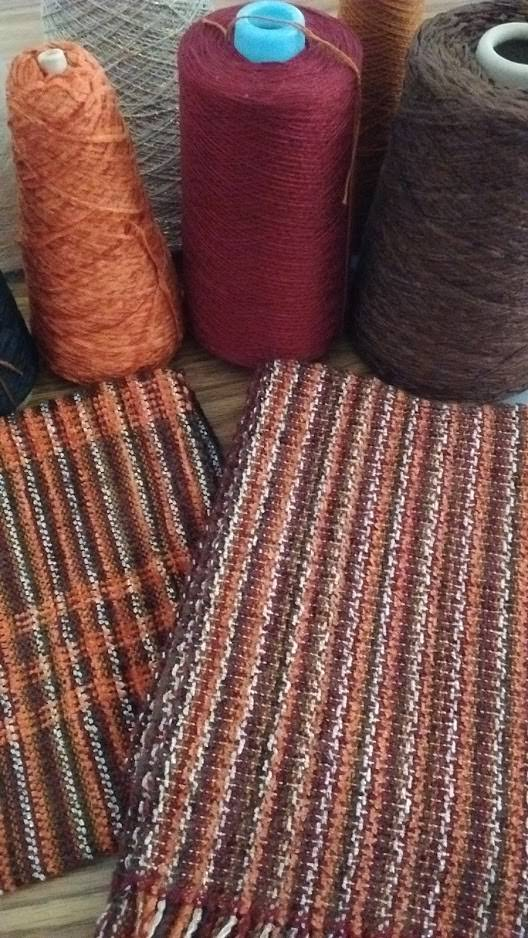 Sue's sample and finished scarf