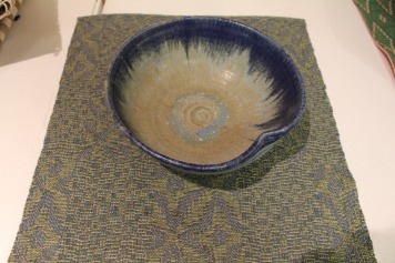 "Nancy W - ""Amalgamation""; small cloth to put under a fruit bowl, woven in 8/2 unmercerized cotton"