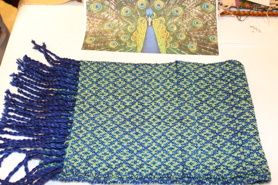 "Virginia H - four-shaft scarf in Davidson pattern ""Simplicity"" inspired by a photo of a peacock"