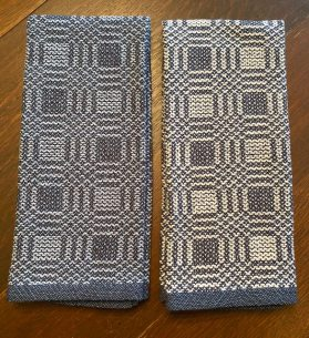 Bev A - Summer & Winter towels woven in 8/2 and 4/2 unmercerized cotton on a 4-shaft loom, sett at 16 epi.