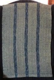 Chris M - Twill towel woven with 4 shafts in 4/2 dip-dyed cotton, sett at 15 epi.