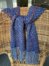"""Diane W - M&W 8-shaft twill scarf woven for Tien Chiu's and Janet Dawson's Fall 2020 """"Stash Weaving Success"""" class. Yarns included wool/rayon mohair, wool/nylon, hands-on mohair, and Jaggerspun merino wool, sett at 12 epi."""