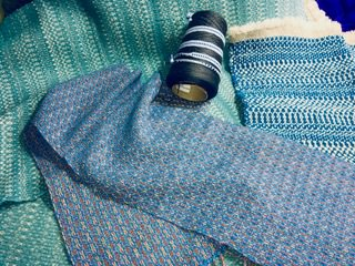 """Linda A - More """"Basically Blues,""""various fabrics woven for the Classic Blue challenge."""