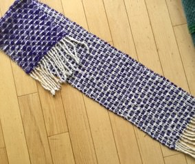 """Virginia H - Twill scarf using 4-shaft """"Simplicity"""" draft from Davidson woven in thin wool sett at 14 epi."""