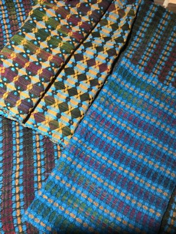 Linda A - Deflected double weave towels woven in 10/2 and 8/2 cotton on 8 shafts, sett at 24 epi. She encountered many challenges along the way, but who can tell?