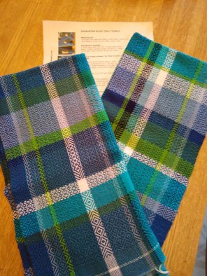 """Becca A - Twill towels woven on 4 shafts using 5/2 mercerized cotton warp sett at 18 epi and 5/2 cotton weft, using the """"Quarantine Blues Twill Towel"""" kit and draft from Tammy Deck/TLD Designs."""